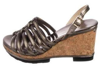 Jimmy Choo Metallic Platform Wedge Sandals Pewter Metallic Platform Wedge Sandals