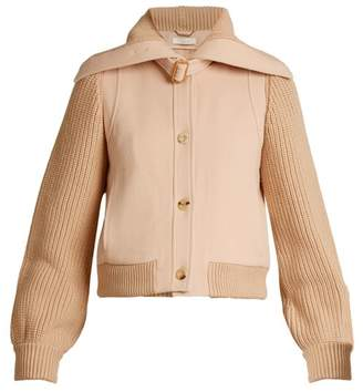 Chloé Contrast Knit Sleeve Wool Twill Jacket - Womens - Light Pink