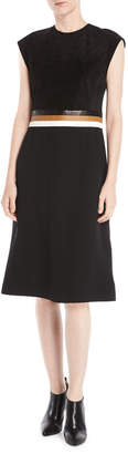 Derek Lam Sleeveless A-Line Stretch Cady Dress w/ Leather Belt Insert