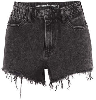 Alexander Wang Bite Frayed Denim Shorts - Dark gray