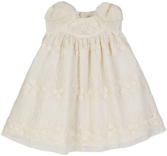 Luli & Me Floral Tulle Dress w/ Silk Bow Shoulders, Size 3-18 Months