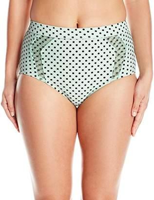 Betsey Johnson Womens Swimwear Women's Duo Dot Hi Waist Bikini Bottom