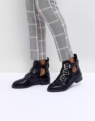 Pull&Bear Cutout Multi Buckle Boot