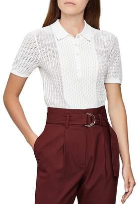 Reiss Alma Lace Knit Polo Shirt