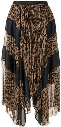 Sacai pleated leopard print skirt