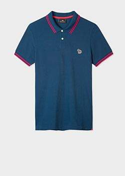 bda3c636 Men's Slim-Fit Washed Navy Zebra Logo Supima Cotton Polo Shirt With Red  Tipping