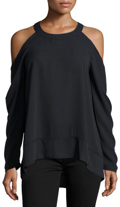 Marled by Reunited Long-Sleeve Cold-Shoulder Blouse, Black $62 thestylecure.com