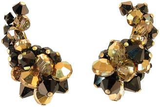 One Kings Lane Vintage HobA Black & Bronze Crystal Earrings - Neil Zevnik