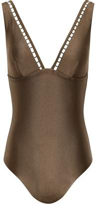 Reiss Sacha - Low Back Swimsuit in Khaki