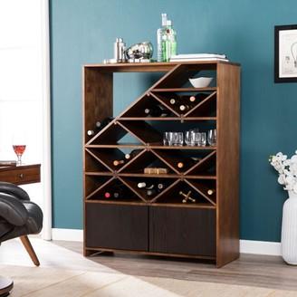 Mid-Century MODERN Southern Enterprises Southern Enterpises Maximillion Wine/Bar Shelf, Midcentury Modern Style, Dark Tobacco