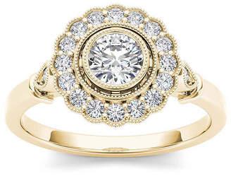 MODERN BRIDE 1/2 CT. T.W. Diamond Flower Halo 10K Yellow Gold Engagement Ring