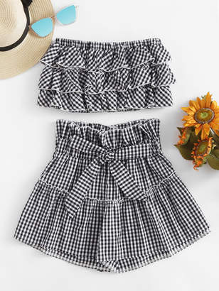 SheinShein Tiered Frill Gingham Bandeau Top With Shorts