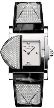 Hermes Medor Mini Watch with Diamonds & Black Alligator Strap