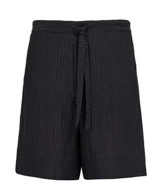Hecho - Ribbed Silk And Linen Blend Shorts - Mens - Black