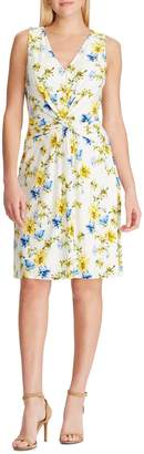 Chaps Floral Twist-Front Fit--Flare Dress