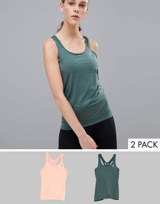 Reebok two pack tank in pink and green