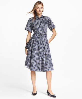 Brooks Brothers Petite Geometric-Print Cotton Sateen Shirtdress