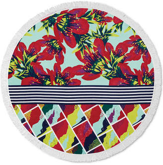 Lamont Closeout! Lamont Bonfire Bay Summer Blossoms Round Beach Towel Bedding