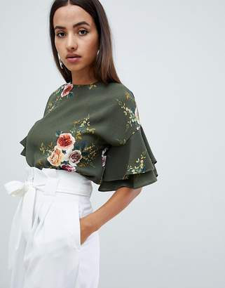 AX Paris floral top with frill sleeve