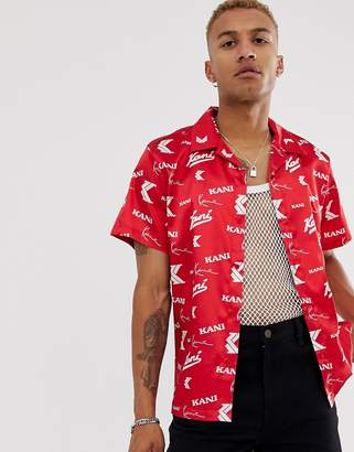 Karl Kani OG Satin all-over print shirt with revere collar in red