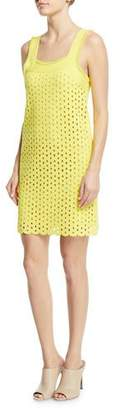 Derek Lam Square-Neck Straight Cutout-Eyelets Mini Dress