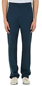 Balenciaga MEN'S DOUBLE-BELT-LOOP WOOL-BLEND SLIM TROUSERS-BLUE SIZE 46 EU