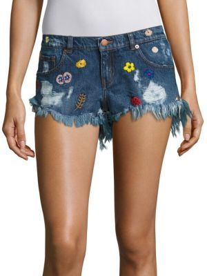 The Kooples Rainbow Embroidered Shorts $195 thestylecure.com