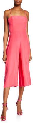 Amanda Uprichard Izzy Spaghetti-Strap Wide-Leg Cropped Silk Jumpsuit