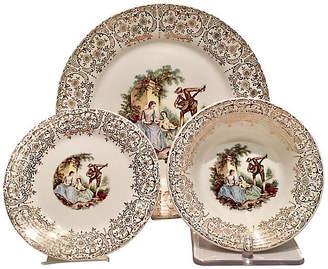 One Kings Lane Vintage 22K Gold Limoges Plates - Set of 18