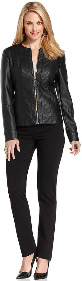 Charter Club Jacket, Pleather Quilted