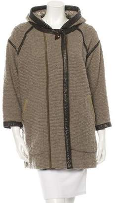 Isabel Marant Leather-Trimmed Knit Coat