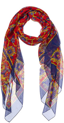 Hermes Blue & Red Cotton Scarf