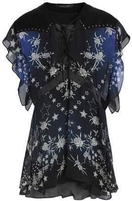 Roberto Cavalli Ruffled Studded Printed Silk-Voile Top