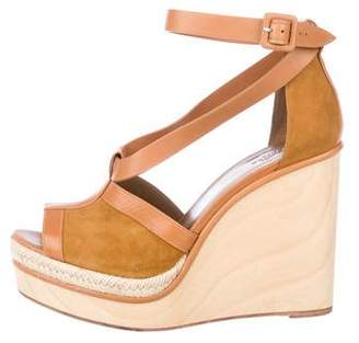 Hermes Suede Ankle Strap Wedges