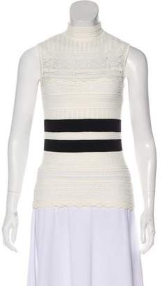 Alexander McQueen Striped Pointelle Top