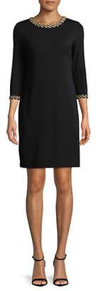 Karl Lagerfeld PARIS Bead Trim Three-Quarter Sleeve Dress