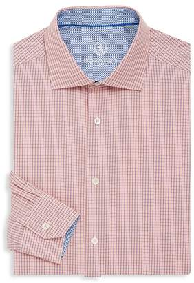 Bugatchi Men's Shaped-Fit Micro Check Cotton Dress Shirt