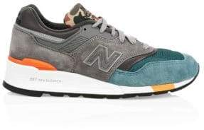 New Balance Men's 997 Color-Block Suede Lace Up Sneakers - Grey Green - Size 7 D