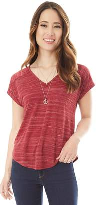 Iz Byer Juniors' Ruched Back Striped Tee with Necklace