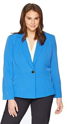 Kasper Women's Plus Size 1 Btn Stretch Crepe Notch Lapel JKT