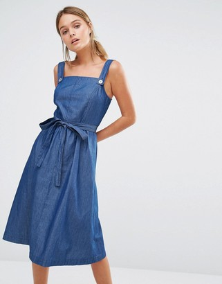 Oasis Chambray Pinafore Belted Dress $68 thestylecure.com