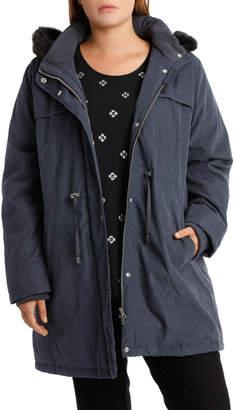 Soft Fur Trim Long Sleeve Jacket