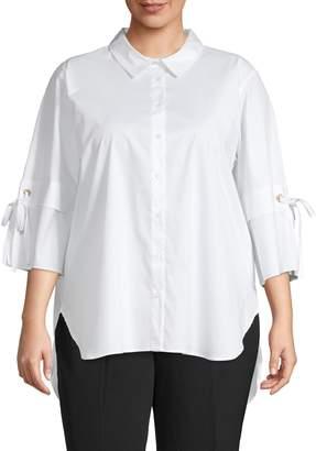 Calvin Klein Plus High-Low Cotton Blend Top