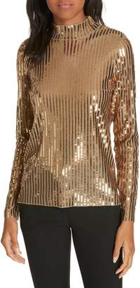 Tanya Taylor Grace Gold Sequins Top