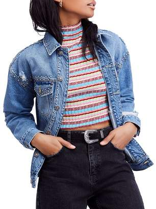 Free People Studded Denim Trucker Jacket