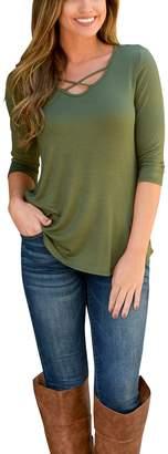 Amstt Women Springtime Cross Front Top Deep V Neck Casual Teen Girl Tees T Shirts (L, )