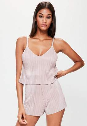 Missguided Nude Pleat Overlay Strappy Playsuit, Nude