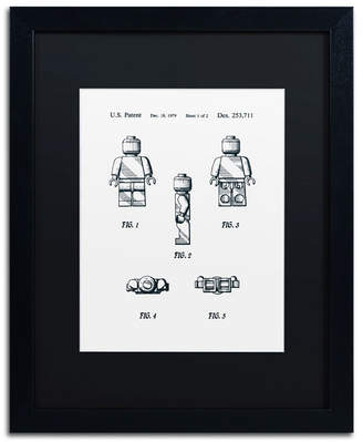"Lego Claire Doherty 'Lego Man Patent 1979 Page 1 White' Matted Framed Art - 16"" x 20"""