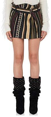 Saint Laurent Women's Ikat Striped Silk-Blend Belted Miniskirt