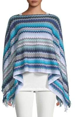 Missoni Crochet Fringe Stripe Poncho